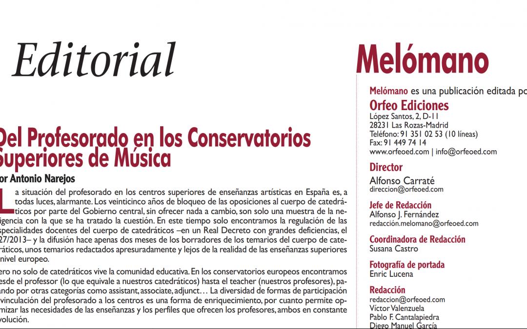 Del Profesorado en los Conservatorios Superiores de Música